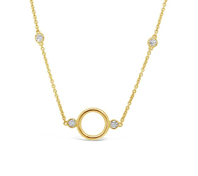 Diamond Circle Stations Necklace in 10K Yellow Gold - 16""