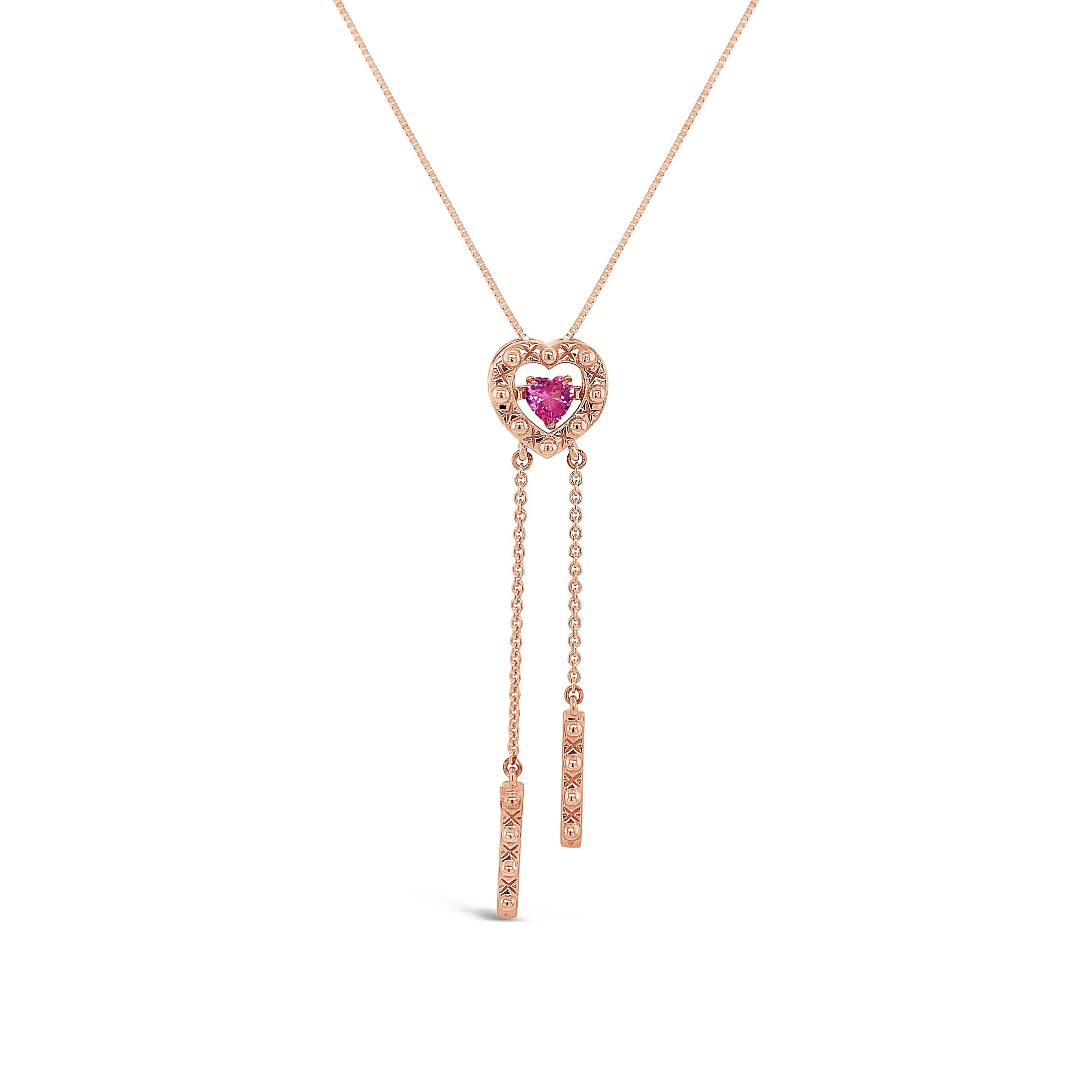 "1/3 Carat Pink Sapphire Heart Pendant in 10K Rose Gold with 18"" Chain"