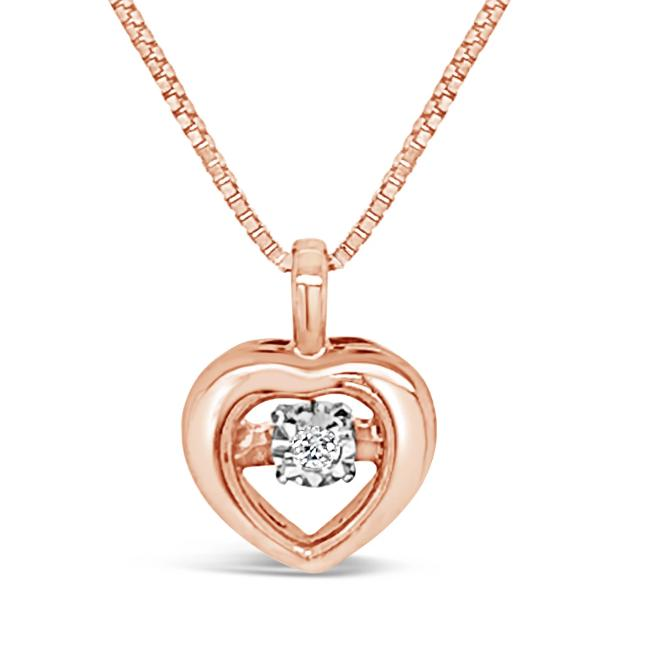 Sparkle in Motion: Diamond Accent Heart Pendant in 10K Rose Gold