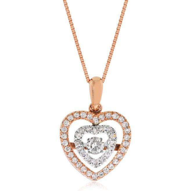 "0.40 Carat Diamond Heart Pendant in 10K Two-Tone Gold with 18"" Chain"