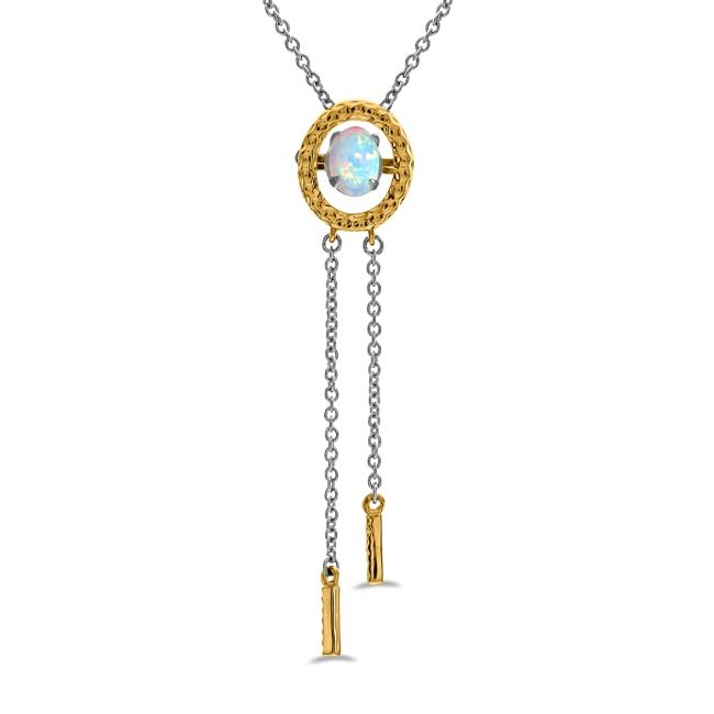 "1/4 Carat Created Opal Pendant in 10K Two-Tone Gold with 18"" Chain"