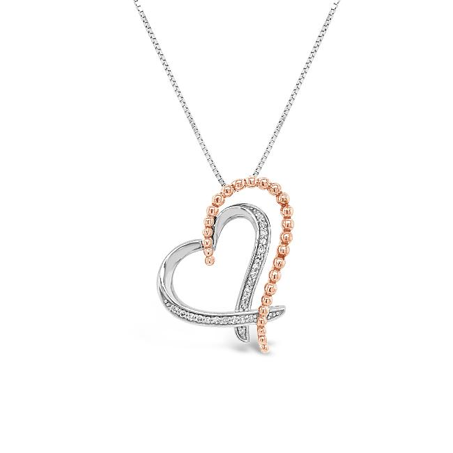 Diamond Accent Heart Pendant in 10K White Gold - 18""
