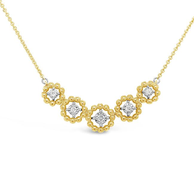 1/8 Carat Diamond Ensemble Necklace in 10K Yellow Gold - 18.5""