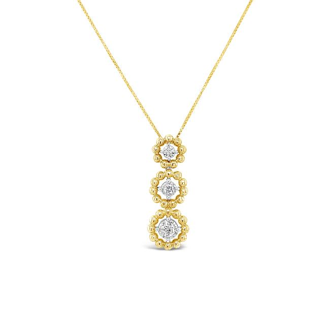 1/6 Carat Diamond Pendant in 10K Yellow Gold - 18""