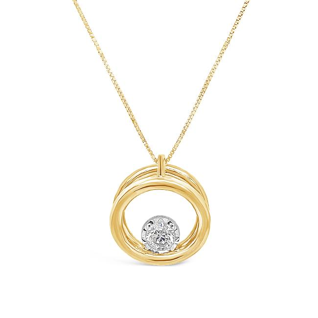 1/3 Carat Diamond Halo Pendant in 10K Yellow Gold - 18""