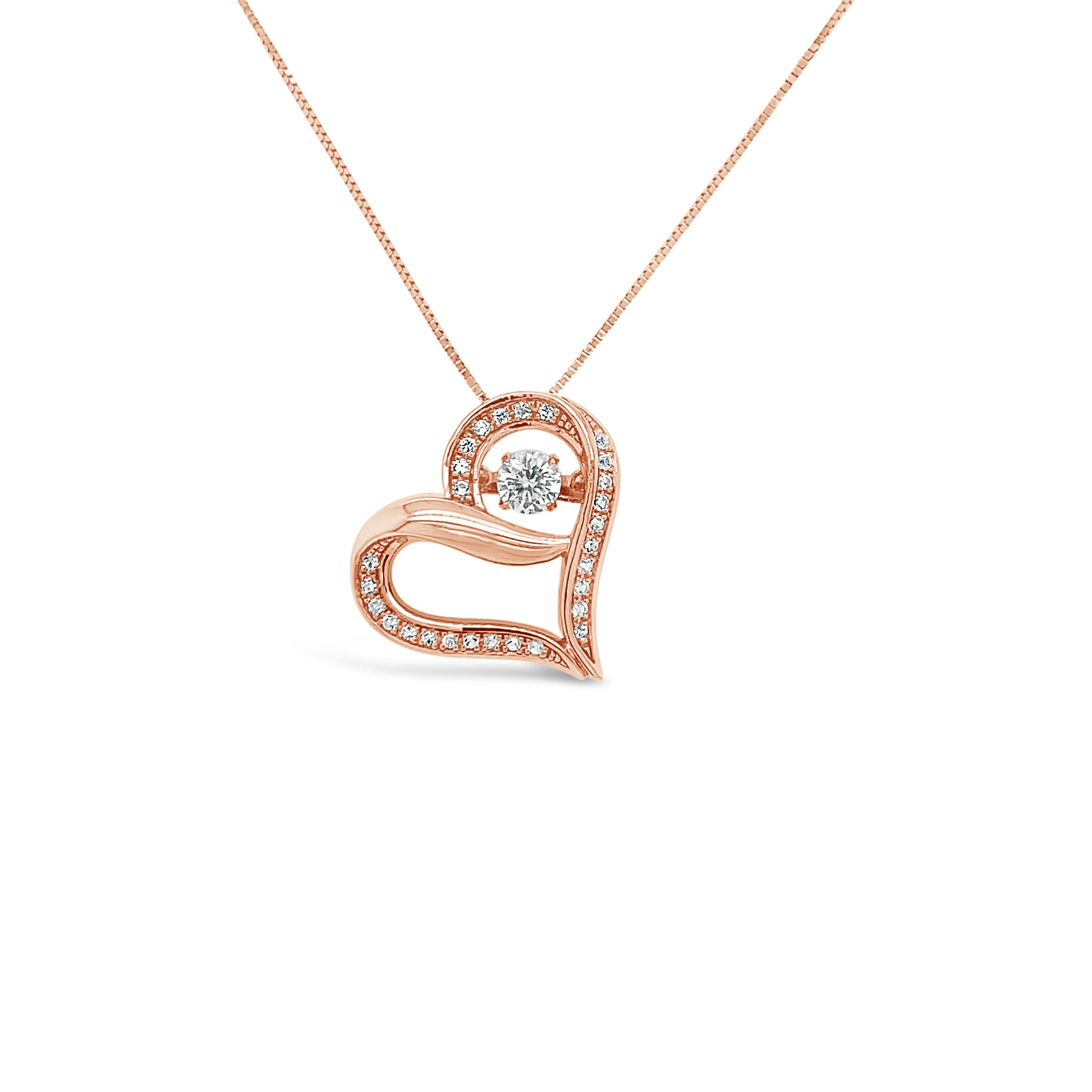 1.73 Carat Created White Sapphire Heart Pendant in 10K Rose Gold - 18""