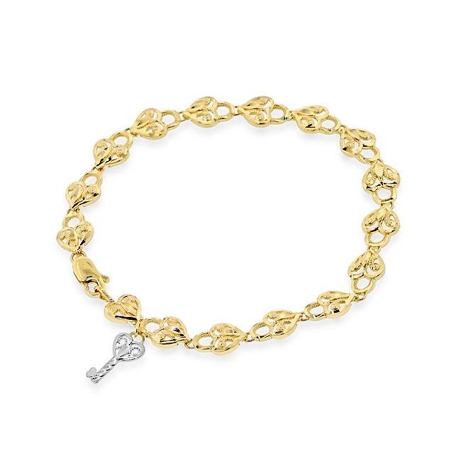 10K Yellow Gold Diamond Cut Heart & Key Bracelet - 7.25""