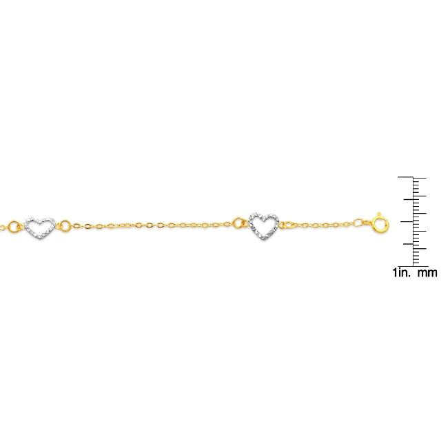 products gold link palmbeach cfm bracelet ankle at anklet detail jewelry heart yellow