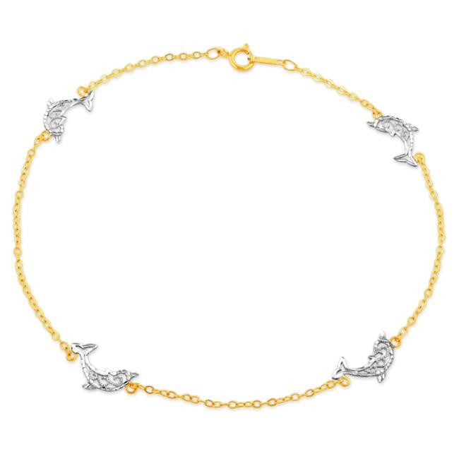 in pin oval link and heart gold zales anklet