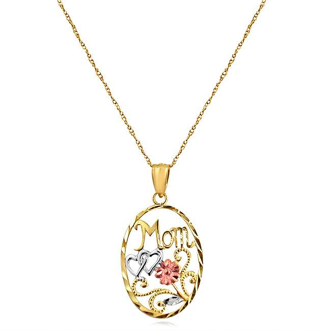 10K Tri-Color Mom Oval Pendant - 18""