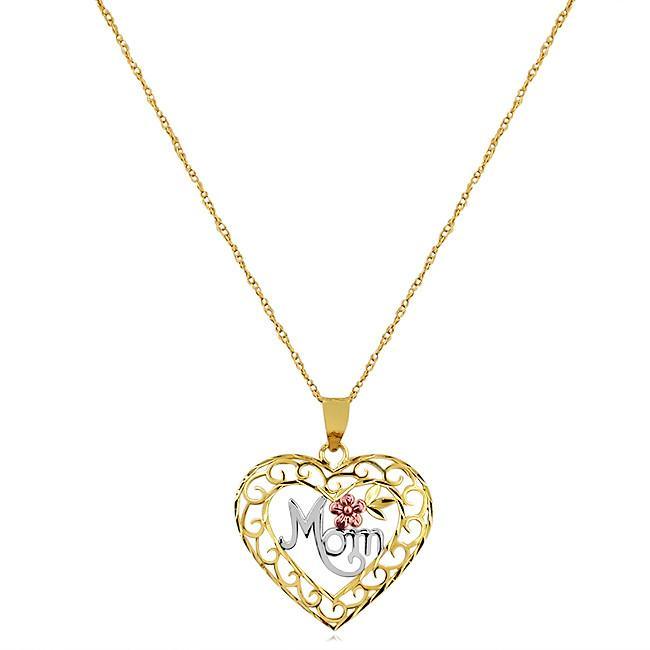 10K Tri-Color Mom Heart Pendant - 18""