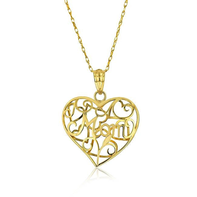 10K Yellow Gold Mom Heart Pendant - 18""
