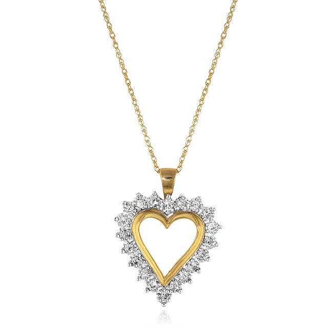 "0.25 Carat Diamond Perfect-Heart Pendant in 10K Yellow Gold with 18"" Chain"