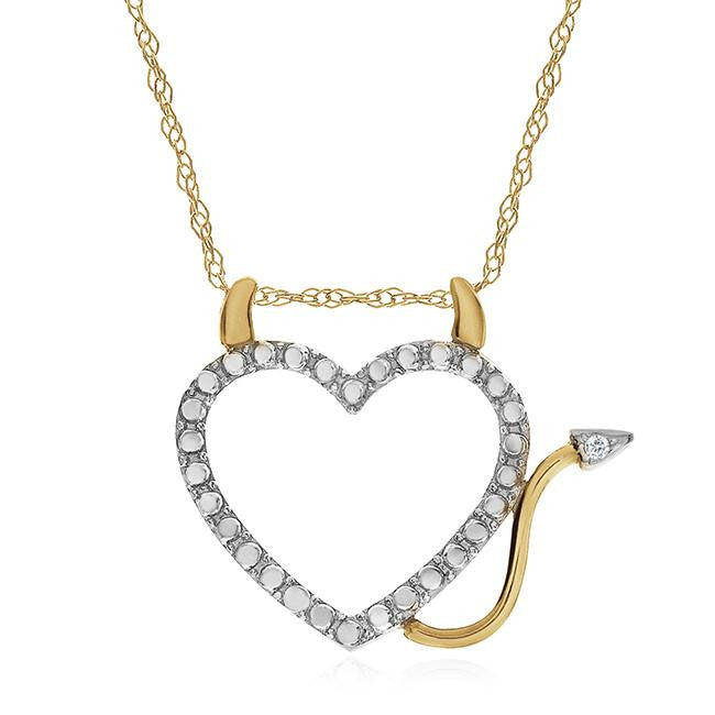 Diamond Accent Devil Heart Pendant in 10K Gold