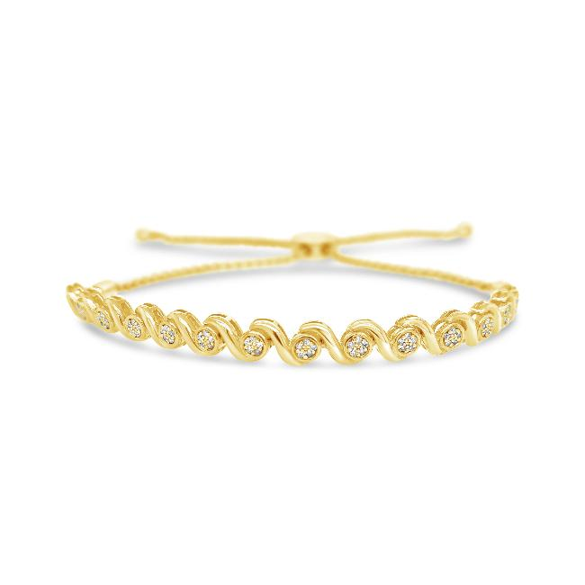 1/8 Carat Diamond S-link Bolo Bracelet in 10K Yellow Gold - 9.5""