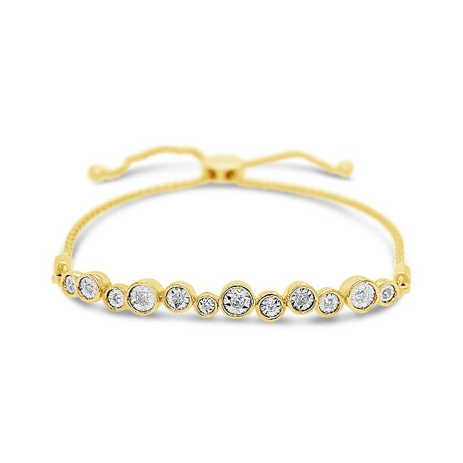 1/5 Carat Diamond Bolo Bracelet in 10K Yellow Gold - 9.5""