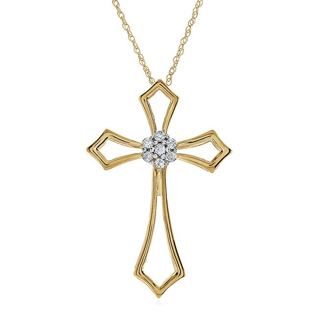 "1/10 Carat Diamond Cross Pendant in 10K Yellow Gold with 18"" Chain"