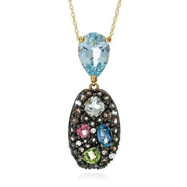 3.60 Carat Genuine Multi-Color Gemstone Pendant in 10k Yellow Gold with Chain