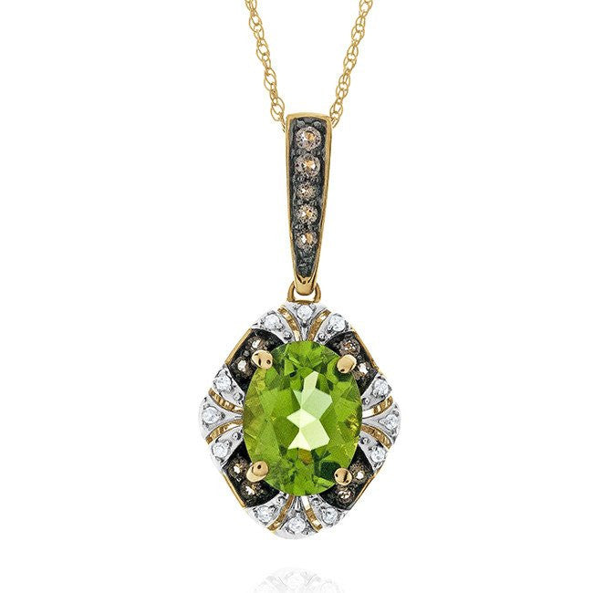 2.00 Carat Genuine Peridot & Smoky Quartz Pendant in 10k Yellow Gold with Chain