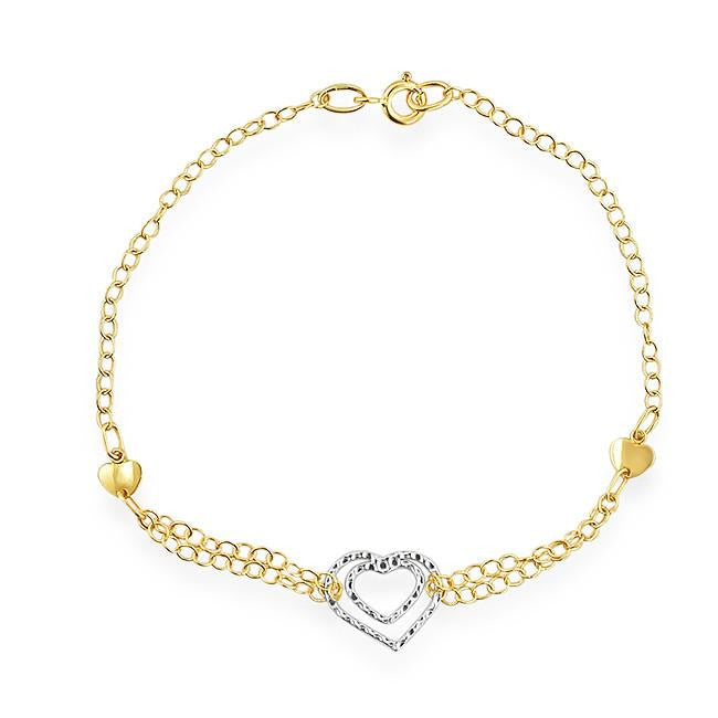 Hammered Heart Anklet in Two-Tone 10K Gold - 9.5""