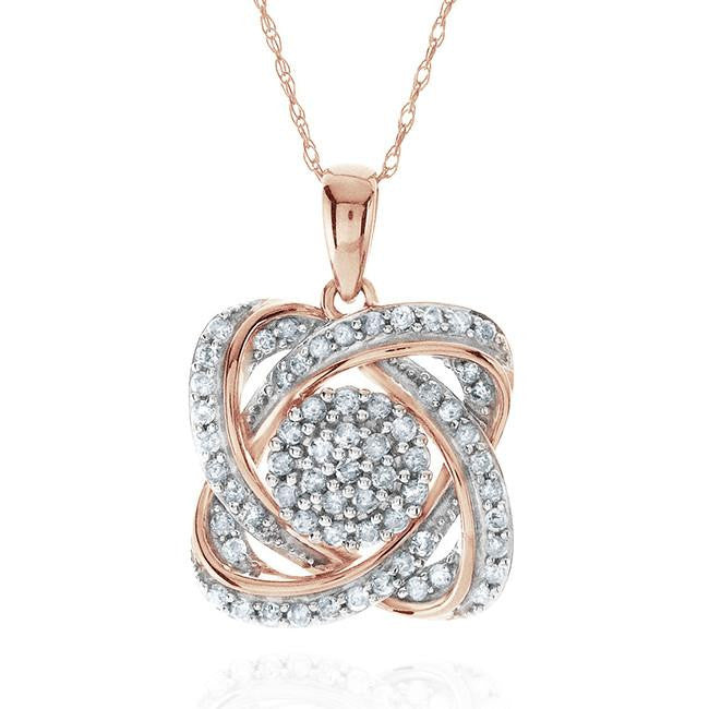0.50 Carat Diamond Flower Pendant In 10K Rose Gold With Chain