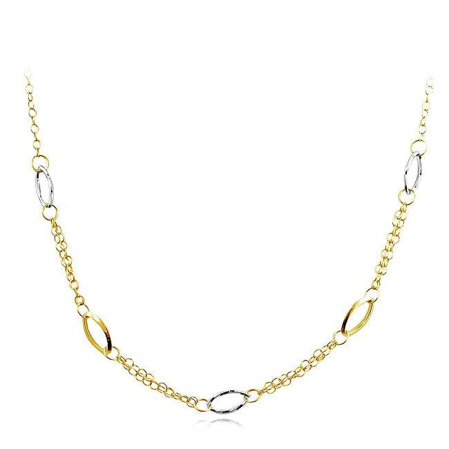 Fancy Station Necklace in Two Tone 10K Gold - 24""