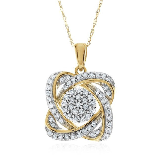 0.50 Carat Diamond Flower Pendant In 10K Yellow Gold With Chain