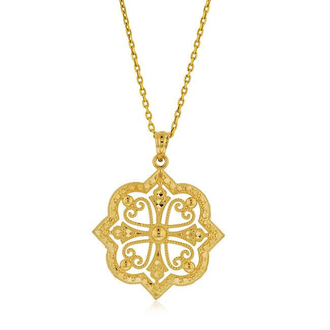 Diamond Cut Etruscan Cushion Pendant in Two-Tone 10K Gold with Chain
