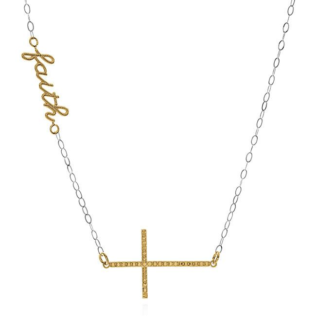 10K Yellow & White Gold Faith/Cross Necklace - 17""
