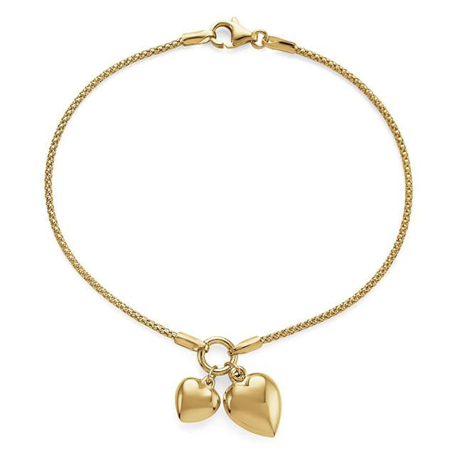 10K Yellow Gold Double Heart Charm Bracelet - 7.5""