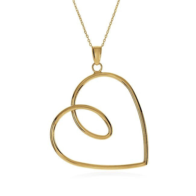 10K Yellow Gold 'Forever Love' Pendant with Chain - 18""