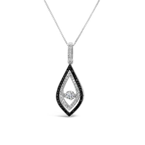 "1/3 Carat Black and White Diamond Pendant in 10K White Gold with 18"" Chain"