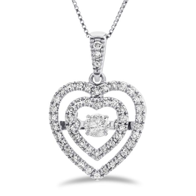 "3/8 Carat Diamond Heart Pendant in 10K White Gold with 18"" Chain"