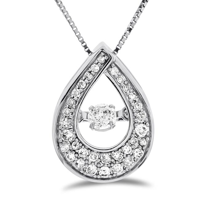 "1/4 Carat Diamond Teardrop Pendant in 10K White Gold with 18"" Chain"
