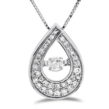 "Load image into Gallery viewer, 1/4 Carat Diamond Teardrop Pendant in 10K White Gold with 18"" Chain"