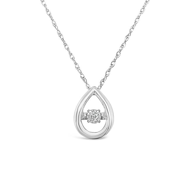 "Diamond Accent Teardrop Pendant in 10K White Gold with 18"" Chain"