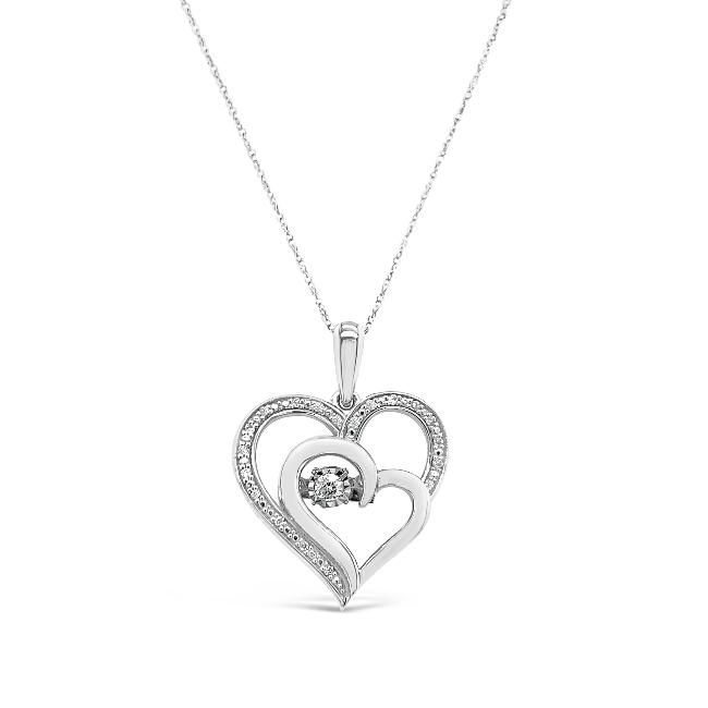 1/10 Carat Diamond Heart Pendant in 10K White Gold