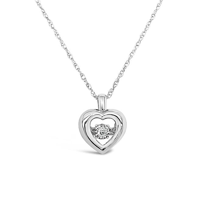 Sparkle in Motion: Diamond Accent Heart Pendant in 10K White Gold