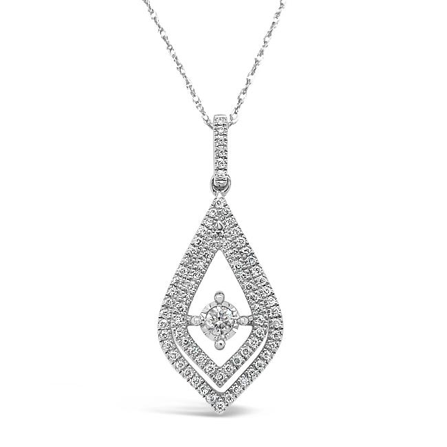 1/4 Carat Diamond Pendant in 10K White Gold with Chain - 18""