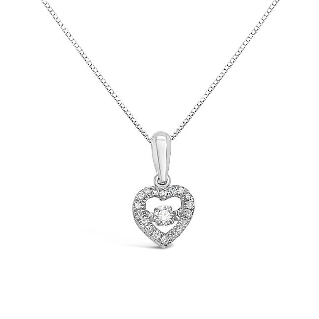 "1/5 Carat Diamond Heart Pendant in 10K White Gold with 18"" Chain"