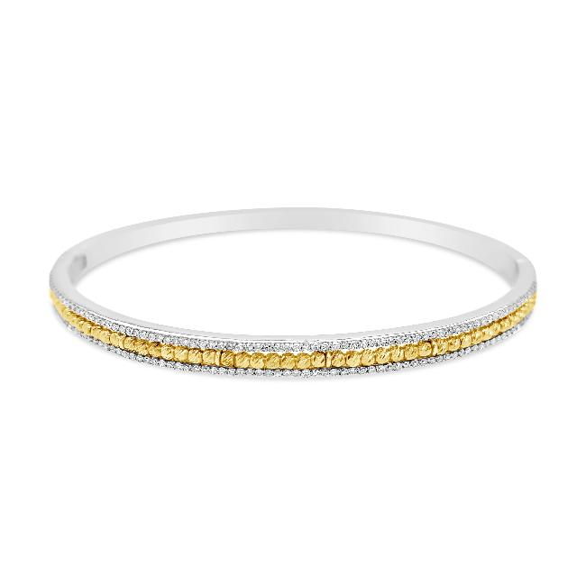 3/4 Carat Diamond Bangle Bracelet in 10K White Gold - 7.25""