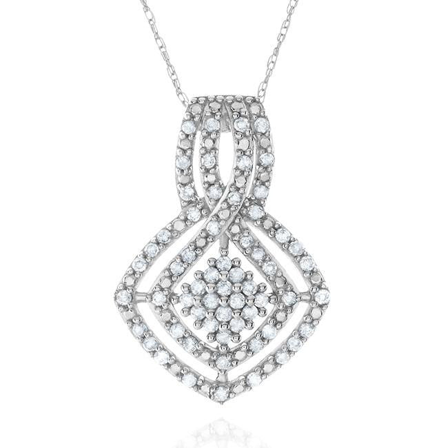 1/2 Carat Diamond Pendant in 10k White Gold with Chain