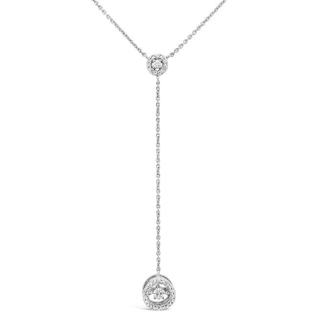 1/4 Carat Diamond Halo Y Necklace in 10K White Gold - 18""