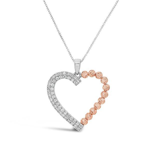 0.25 Carat Diamond Heart Pendant in Two-Tone 10K - 18""