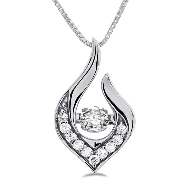 1/5 Carat Diamond Pendant in 10K White Gold with Chain - 18""