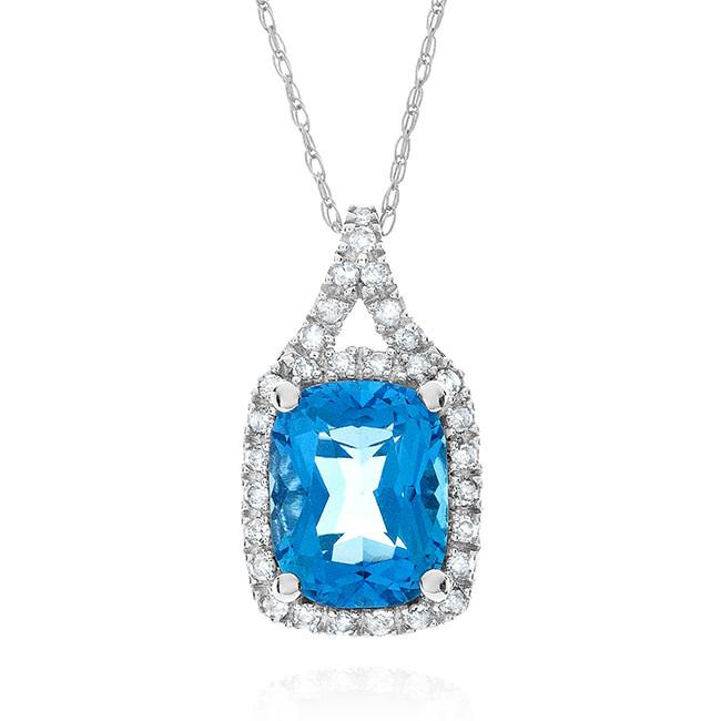 2.65 Carat Genuine Swiss Blue Topaz & Diamond Pendant in 10k White Gold with Chain