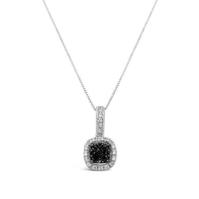 1/3 Carat Black and White Diamond Pendant in 10K White Gold