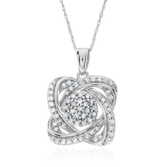 1/2 Carat Diamond Flower Pendant In 10K White Gold With Chain