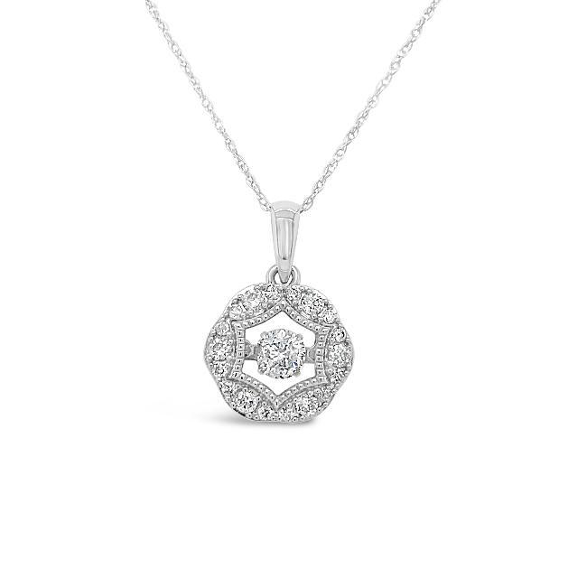 0.50 Carat Diamond Intricate Halo Pendant in 10K White Gold - 18""