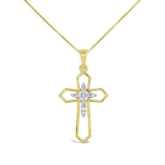 1/10 Carat Diamond Cross Pendant in 10K Yellow Gold - 18""
